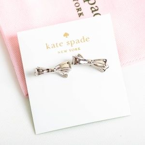 Kate Spade Love Notes Bow Earrings Silver